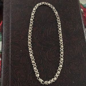 """Italy Sterling silver xo link chain  necklace 17"""""""